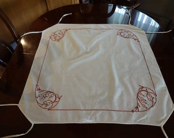 Vintage Hand Embroidered Linen Card Table Tablecloth Cover