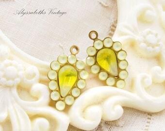 Swarovski Matte Yellow Rhinestone and Yellow Sabrina Teardrop Glass Stones Earring Dangle Charms Drops 20x12mm - 2