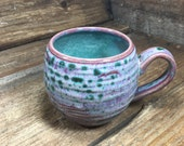 Large 18 oz Hand Carved Mug in Peacock