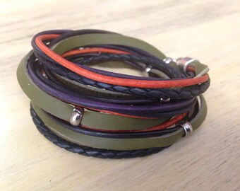 Leather Wrap Bracelet, Spring Fashion Trend, Tribal Boho Leather bracelet Olive Green, Natural Orange, Purple and Black Stacked Look 3X wrap