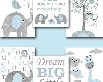Blue Grey Canvas Print Baby Boy Nursery Quotes Baby Nursery Decor Nursery Art Kids Room Decor Nursery Wall Art Kids Wall Art set of 6