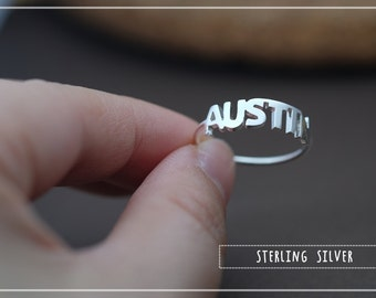 Custom Name Ring-Ultra thin band - Personalized Name Ring - Baby Name- Your name ring - New Mom Ring - Bridesmaid Jewelry-Birthday gift.
