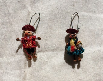 Vintage Textile Peruvian Worry Doll Dangle Earrings 90's