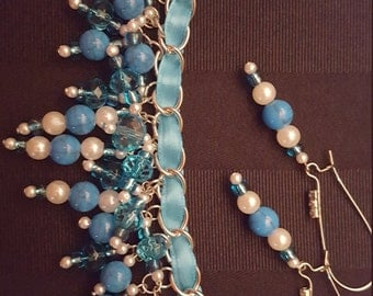 Light Blue and White Bracelet & Earring Jewelry Set