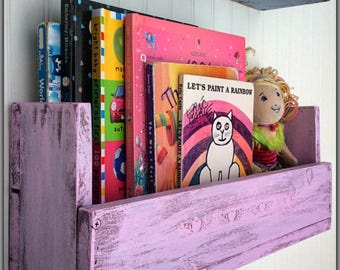 Children's Bookshelf, Shelf, Reclaimed Wood, Nursery, Girls, Bathroom Shelf,  Room Decor, Distressed Pink, Raised Plaster, Personalized