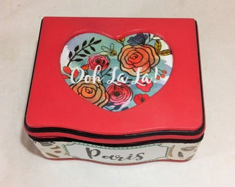 OOH LA LA French Jewelry Box, Girls Red Jewelry Box, Heart Jewelry Storage Paris Scenes, Bonjour Script Jewelry Organizer, girl keepsake box