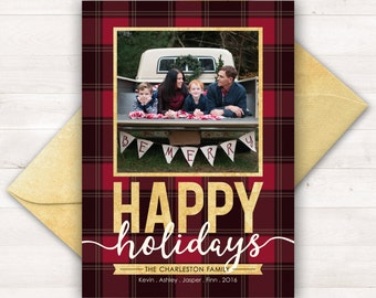 Custom Christmas Cards, Photo Holiday Cards, Plaid Christmas Card, Printable Christmas Cards, Photo Christmas Card, Printable Holiday Cards