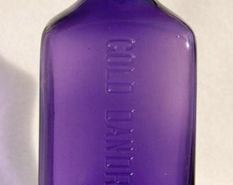Large antique GOLD DANDRUFF CURE bottle - Xxtreme deep Lavender purple amethyst color ~
