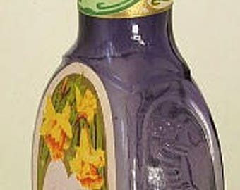 Exquisite original antique Bacorn's NARCISSUS Toilet Water perfume. Deep purple, fully embossed, orig label, glass stopper.