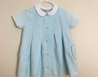 50s Turquoise Blue Peter Pan Collar Pleated Dress, Size 2T to 3T