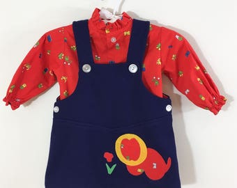 70s Heir Craft Horoscope Print Red Blouse and Navy Lion Dress Set, Baby Girl Size 12 to 18 months