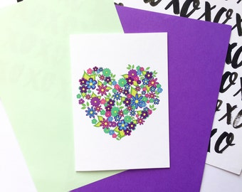 Colourful Floral Love Heart Card /Valentine's Day/Cute Valentines/Mother's Day/Birthday/Thanks/Congratulations/Wedding/Engagement