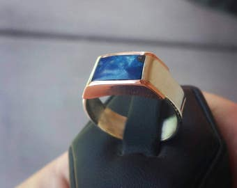 Fine Silver and Copper Lapis Men's Ring size 9
