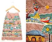 70s Button Down Tropical Island Jamaica Skirt Mid Length Women's Small 4