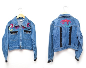 90s Lizard Embellished Denim Jacket Women's Medium