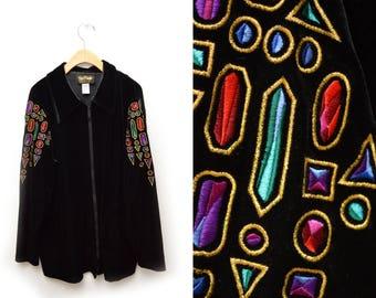 90s Crystal Bob Mackie Velvet Jacket Women's Large Black