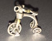 Silver Tricycle Charm Vintage Sterling Silver 3D Moveable Charm Pendant