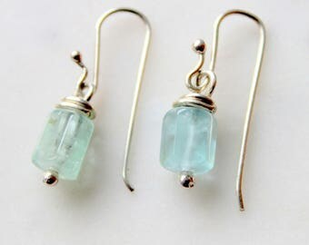 sterling silver aquamarine gem bead earrings icy blue with handmade sterling silver french ear wires blue green teal
