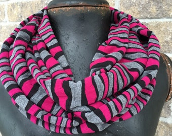 Infinity loop scarf fuchsia grey black stripe jersey knit handmade in Montreal fashion accessory