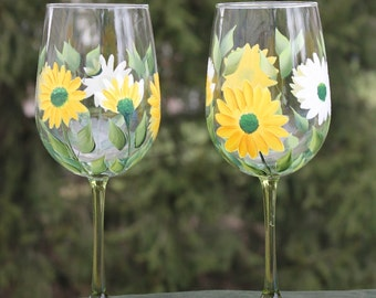 Hand Painted Wine Glasses (Set of 2) - Yellow and White Daisies on Green Stem glass