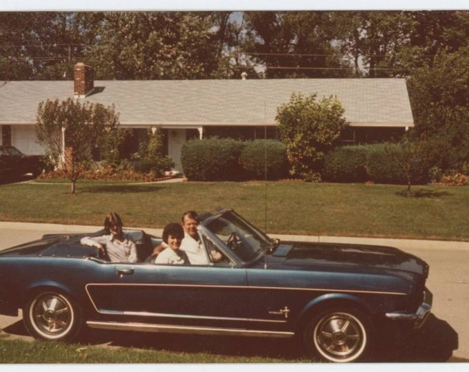 Vintage Snapshot Photo: Suburban Family in Blue Glow '60s Convertible Mustang, 1978 (612527)