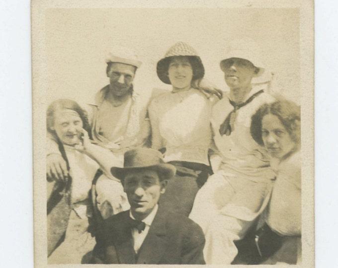 Vintage Print Snapshot Photo: Motley Crew #2, 1910s-20s (612527)