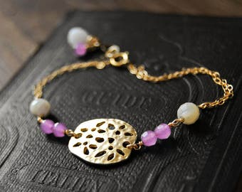 SALA bracelet with flowers and gems | gold