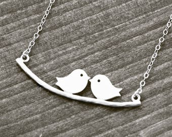 LOVE BIRDS necklace with bird on branch | silver