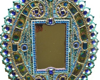 SOLD - Mosaic, Egyptian inpsired, Peacock feather inlay,mirror with lace effect frame - mosaic art