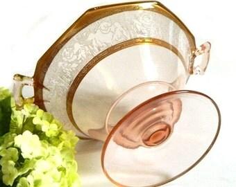 Engraved Vintage Pink Depression Glass Footed Compote Gold Trim Elegant Glass