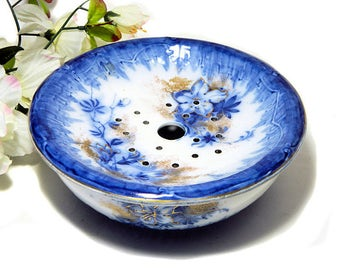 Antique Booth's Semi Porcelain Ironstone Strawberry Bowl with Strainer Cobalt and Gold Azalea Pattern
