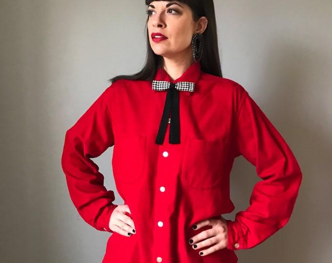 Vintage 50s Loop Collar Menswear Red Corduroy Shirt