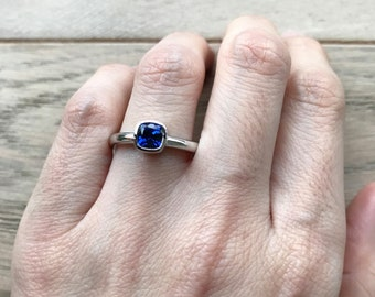 Simple Blue Sapphire Engagement Ring- Cushion Cut Sapphire Promise Ring- Stack September Birthstone Ring- Blue Gemstone Alternative Ring