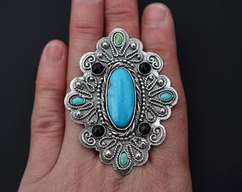 Large Sleeping Beauty Turquoise, Kingman Turquoise and Onyx Statement Ring Or Necklace.  Sized to Order