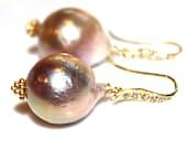 Rainbow Pondslime Baroque Pearl Earring Huge Pearl Large Pearl Earring Pave Earring Baroque Pearl Earrings Pearl Jewelry Artisan Jewelry