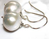 Baroque White Pearl Earrings in Sterling Silver