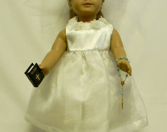 First Communion Dress  For 18 Inch Doll Like The American Girl