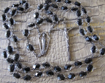 AFCO Clear Crystal over Black Glass Sterling Silver Signed Rosary Prayer Beads/ AFCO NYC 20th Century Rosary/ 5 Decade Catholic Rosary