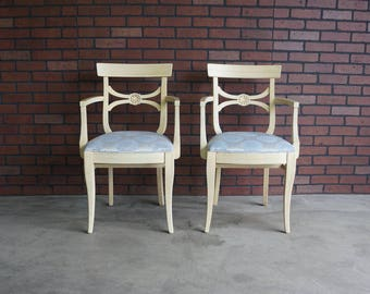 French Arm Chair / Dining Arm Chair / Accent Chair / Desk Chair / Shabby Chic Chair / French Regency Chair ~ Pair