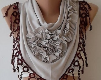 Rose Scarf Christmas Gift Holiday Gift Scarf with Lace Edge Winter Women Fashion Accessories Christmas Gift For Her