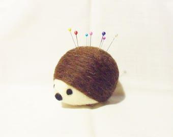Needle Felted Hedgehog Pin Cushion - corridale & merino wool - felted pin cushion - felted hedgehog - needlefelt - hedgehog