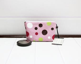 Polka Dot Makeup Bag - Mini Makeup Pouch - Cosmetic Pouch - Purse Cosmetic Bag - Pink Zipper Pouch - Accessories Pouch - Gift for Mom