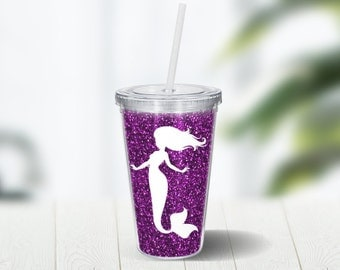 Mermaid Glitter Tumbler 16 Ounce Double Wall Acrylic Cup and Straw