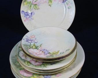 9 Pastel Porcelain Plates, Floral Hand Painted, 4 Salad Plate, 3 Dessert Plates, 2 Saucers, G. B. Shantz, Vintage