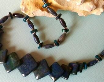Blue Art Deco Chrysacola  necklace