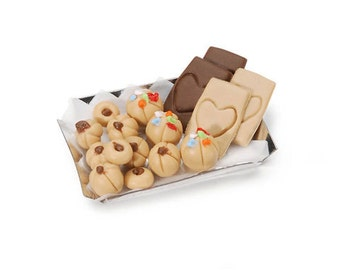 COOKIES on TRAY MINIATUREs -  Tiny cookies & Tray  for  Doll Houses, Shadow Boxes, Papercrafting