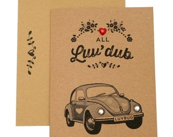 Beetle car Valentines Day Card VW