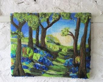 textile wall art, felted art, bluebells