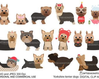 Yorkshire terrier dogs digital clip art for Personal and Commercial use - INSTANT DOWNLOAD