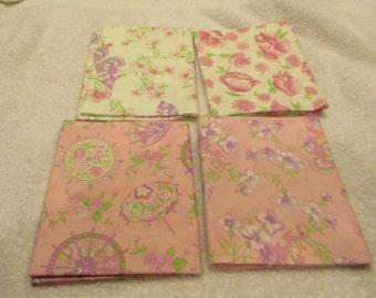 Fat Quarter Bundle with 4 FQs in off white, rose, pink, lavender, green Moda B6